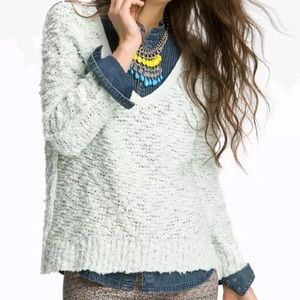 Free People Mint Green Songbird Sweater M